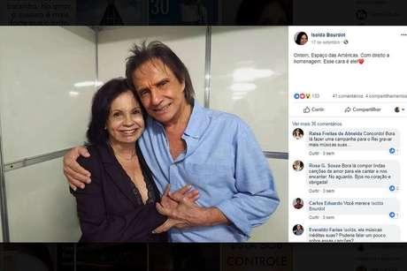 Isolda e Roberto Carlos, em foto de setembro de 2018