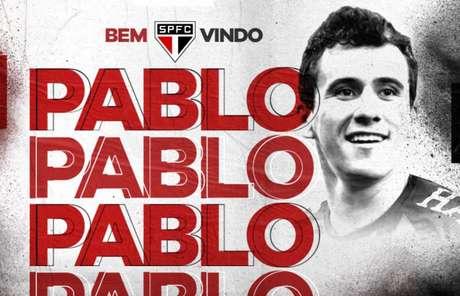 São Paulo anunciou Pablo nesta quarta-feira - FOTO: Divulgação