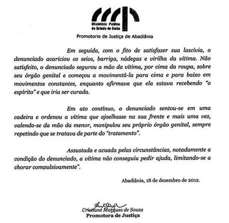 Reprodução de trecho do recurso do Ministério Público de Goiás, de 2012, contra a absolvição de João de Deus em primeira instância, em um caso de abuso sexual de uma menor, ocorrido em 2008. Mesma promotora deve denunciar João de Deus pelos casos que vieram à tona este ano