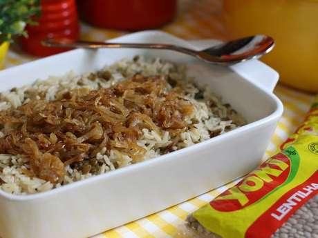 Arroz com Lentilha e Cebolas Caramelizadas