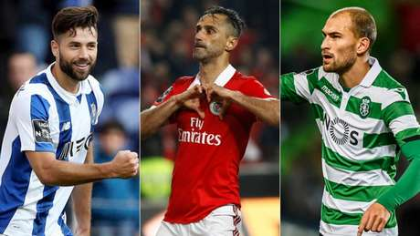 Felipe, do Porto; Jonas, do Benfica; e Bas Dost, do Sporting são os principais jogadores de suas equipes (Divulgação)