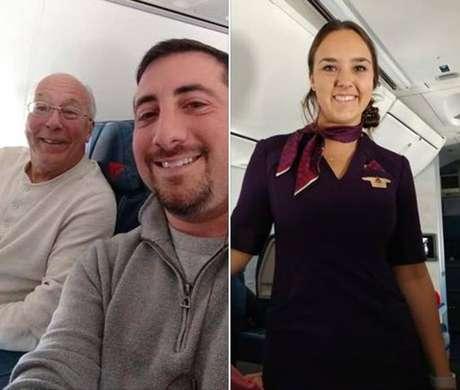Mike Levy (no centro) ficou comovido com a atitude de Hal (à esquerda) para passar o Natal com a filha comissária de bordo