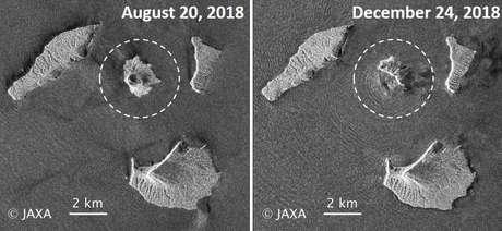 O satélite japonês Alos-2 também está sendo usado para monitorar o Anak Krakatau