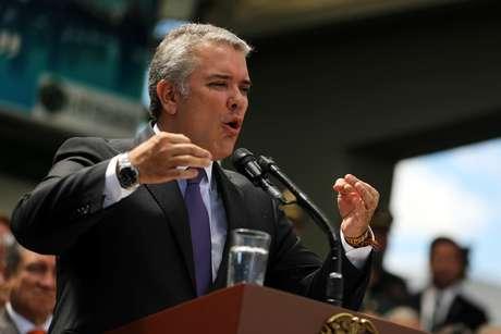 Ivan Duque, presidente da Colômbia, em discurso em Bogotá (17/12/2018)