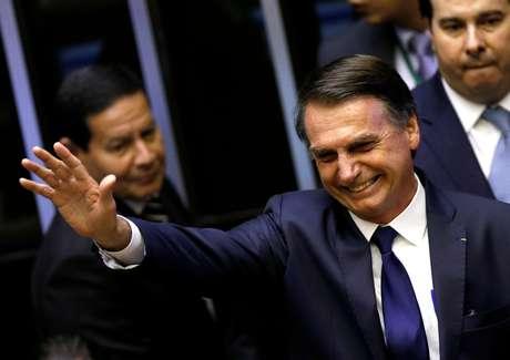 Novo presidente Jair Bolsonaro durante cerimônia de posse