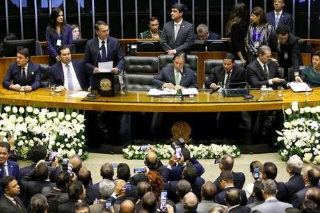 Novo presidente Jair Bolsonaro discursa no Congresso Nacional em cerimônia de posse