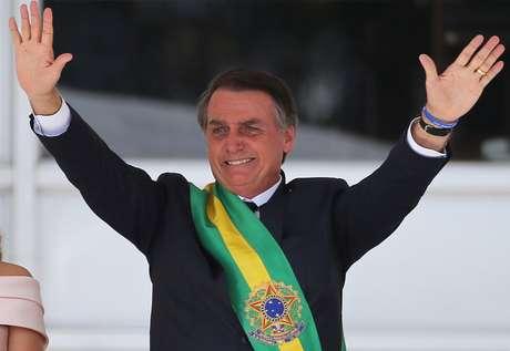 Jair Bolsonaro durante a cerimônia de posse