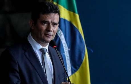 O novo ministro da Justiça e Segurança Pública, Sérgio Moro, durante cerimônia para receber a pasta de seu antecessor, Raul Jungmann