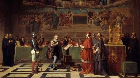 Pintura retrata o julgamento de Galileu no Vaticano; ele foi condenado à prisão domiciliar