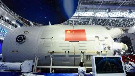 Um modelo da estação espacial chinesa