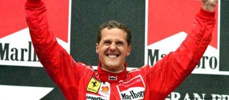 Schumacher num dos muitos momentos de vit�ria: assim os f�s devem recordar o campe�o