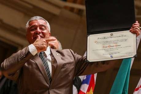 Na foto o senador Major Olímpio durante a cerimônia de diplomação realizada pelo Tribunal Regional Eleitoral.
