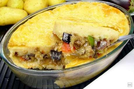Torta de batata com berinjela