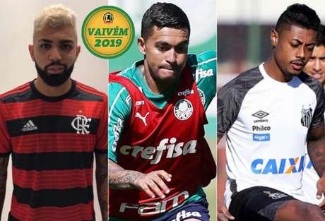 Gabigol, Dudu e Bruno Henrique são os destaques da manhã de quarta. (Foto: Divulgação/Cesar Greco/Pedro Ernesto)