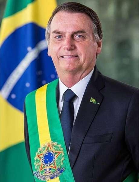 Foto oficial do presidente Jair Bolsonaro