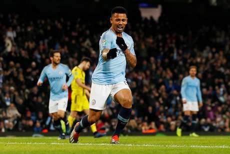 Gabriel Jesus celebrando gol pelo Manchester City