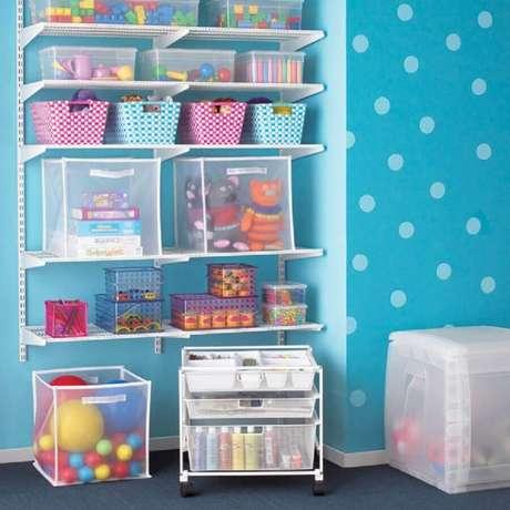 11. A caixa organizadora infantil é a melhor forma de manter o quarto das crianças sempre em ordem – Foto: Maison Cybèle