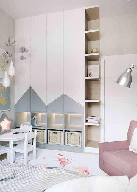 34. Decoração em tons neutros com caixas organizadoras para quarto infantil – Foto: Pinterest