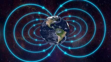 O campo magnético ao redor da Terra é gerado pela movimentação dos metais líquidos no interior do planeta