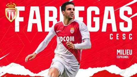 Fàbregas é anunciado pelo Monaco. Time do Principado luta contra o rebaixamento (Foto: Divulgação/Monaco)