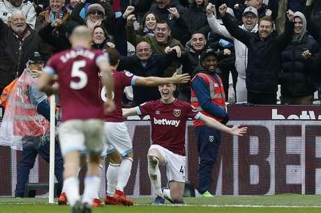 Declan Rice marcou o gol da partida (Foto: AFP)