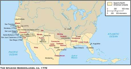 Até 1821, a América do Norte espanhola ia do Atlântico ao Pacífico