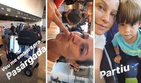 Stories publicados porLuana Piovani no aeroporto, antes de sair do Brasil.