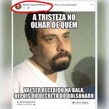 Desembargadora Marilia Castro Neves compartilha postagem de página pró-Bolsonaro com a imagem de Guilherme Boulos. A foto foi apagada das redes sociais.