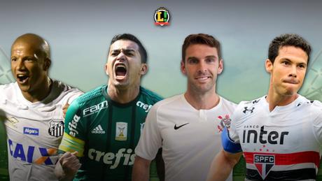 Carlos Sánchez, Dudu, Boselli e Hernanes são quatro dos principais nomes do Paulistão 2019 (Imagem: Arte LANCE!)
