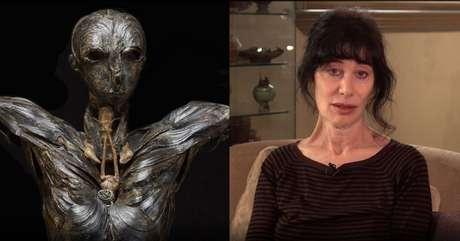 A escultura Adão e a artista Gillian Gensen