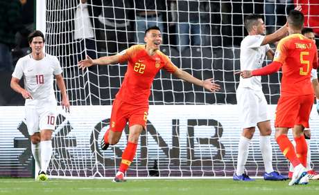 Yu Dabao comemora gol da China contra Filipinas (11/01/2019)
