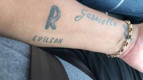 Foto da tatuagem que Vampeta fez em homenagem a Edílson