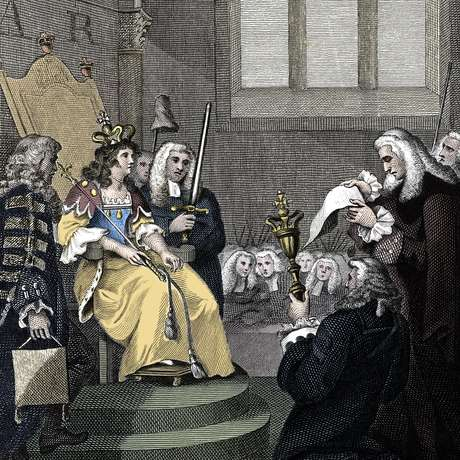 Ilustração de artista desconhecido, de 1826, mostra o ato de união entre a Inglaterra e a Escócia sendo lido diante da rainha Anne em 1707