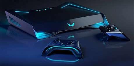 O console tem design futurista e painel em LED que mostra informações sobre o  game que está sendo jogado