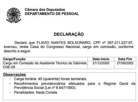 Registro oficial do cargo que Flávio Bolsonaro exerceu na Câmara