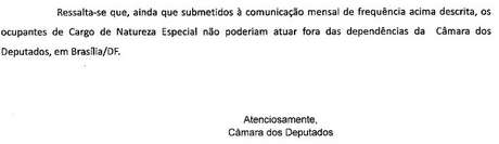 Declaração oficial da Câmara sobre o exercício de cargos de natureza especial fora de Brasília