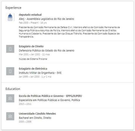 Currículo de Flávio Bolsonaro em seu perfil no LinkedIn