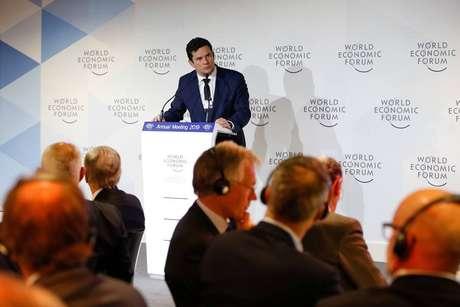O ex-juiz da Lava Jato, Sergio Moro, em Davos,na Suíça, durante almoço de trabalho