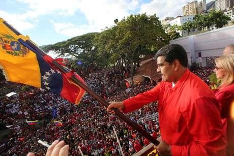 Presidente da Venezuela, Nicolas Maduro, participa de manifestação em apoio a seu governo em Caracas 23/01/2019 Palácio Miraflores/Divulgação via REUTERS
