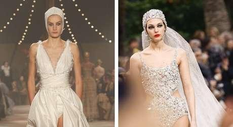 Looks Dior e Chanel, com looks que trazem touca para noivas (Fotos: Divulgação/Reprodução/Instagram)