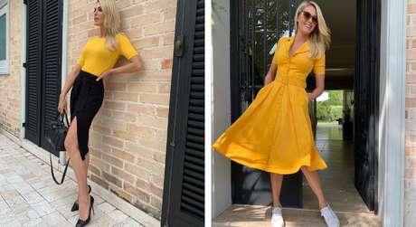 Looks amarelos da Ana Hickmann (Fotos: @ahickmann/Instagram/Reprodução)