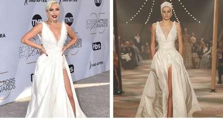 Lady Gaga e o look no desfile (Fotos: Divulgação/Dior)