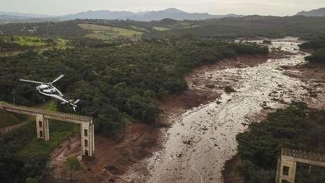 A lama arrasou a região de Brumadinho