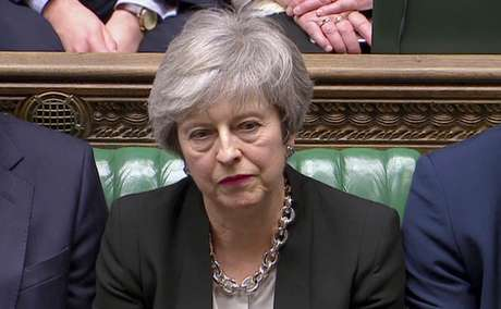 Premiê britânica, Theresa May, durante sessão do Parlamento 29/01/2019 Reuters TV via REUTERS