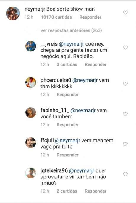 Comentário de Neymar gerou muitos pedidos de transferência ao Fluminense. (Reprodução/Instagram)
