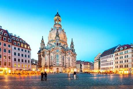 Frauenkirche ao anoitecer (Dresden, Alemanha)