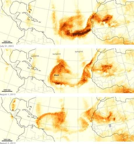 Na Costa Rica, o Instituto Meteorológico Nacional soltou um alerta sobre os perigos da poeira para alergias e crises asmáticas