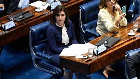 Simone Tebet, na sessão de posse dos novos senadores