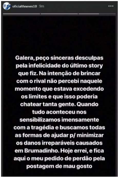 Thiago voltou a postar em sua conta no Instagram, mas dessa vez uma mensagem se desculpando pela brincadeira infeliz- Reprodução