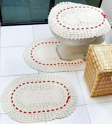 2- O tapete de crochê para banheiro foi confeccionado em barbante. Fonte: Ponto da Arte